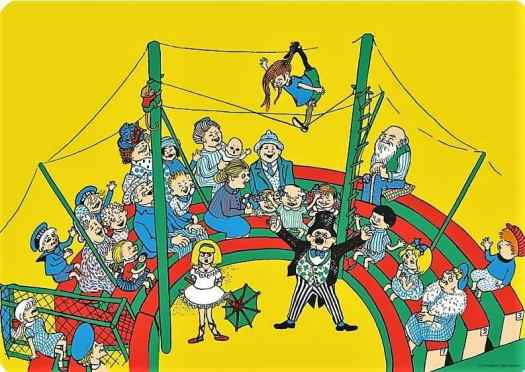 From Do you know Pippi Longstocking (1947) by Astrid Lindgren illustrated by Ingrid Vang Nyman (1916-1959) circus
