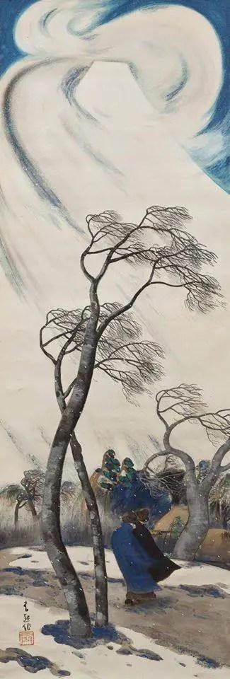 HOSOKIBARA Seiki( 細木原青起 Japanese, 1885-1958, Wind Blowing from Mt. Fuji