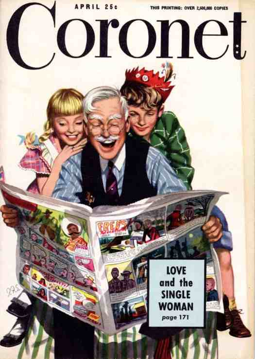 J. Frederick Smith (1917-2006) cover illustration for the April 1949 issue of Coronet 'Three Youngsters' newspaper