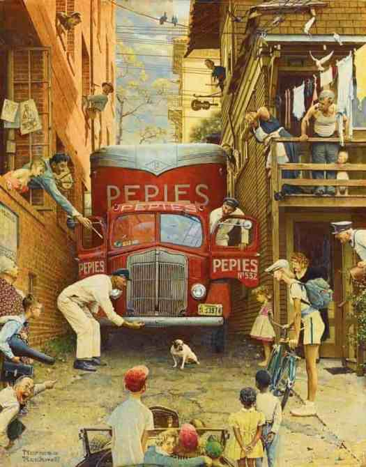 Norman Rockwell Road Block - Issue of The Saturday Evening Post alley way