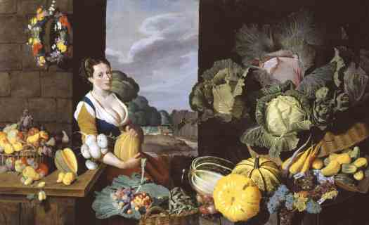 Sir Nathaniel Bacon Cookmaid with Still Life of Vegetables and Fruit c.1620–5