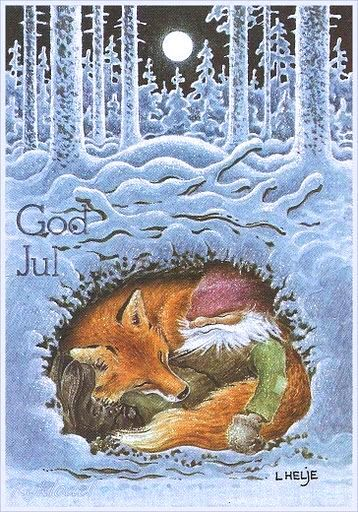 The Tomten and the Fox (1966), illustration by Harald Wiberg, a Swedish Children's Book Illustrator, Wildlife Artist and Author