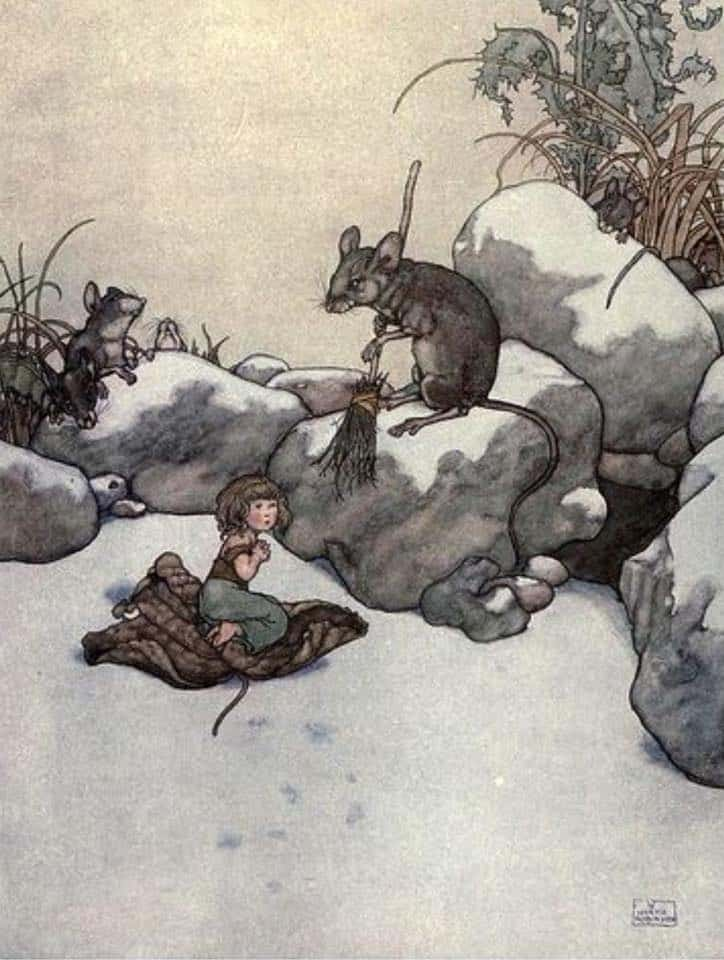 William Heath Robinson (English, 1872-1944) Thumbelina rocks