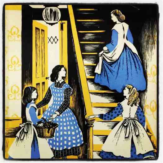 Caldecott medalist Barbara Cooney's 1955 dust jacket design for Louisa May Alcott's Little Women, first published 1868-1869