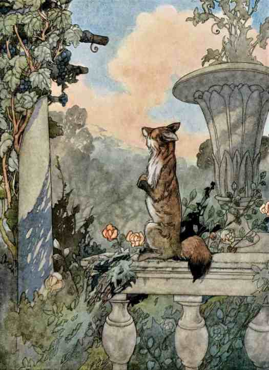 Charles Robinson (1870–1937) 1935 illustration The Fox and the Grapes for Aesop's Fables