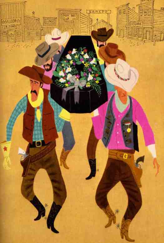Cowboys at a Funeral From The Fireside Book of Favorite American Songs, Illustrated by Aurelius Battaglia. 1952