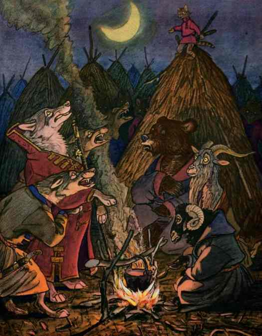 Evgenii Rachev (1906 - 1997) 1960 illustration for Russian Folk Tales campfire