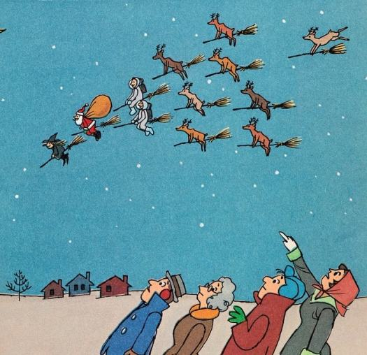 Norman Bridwell, 1970 deer and santa on broomsticks