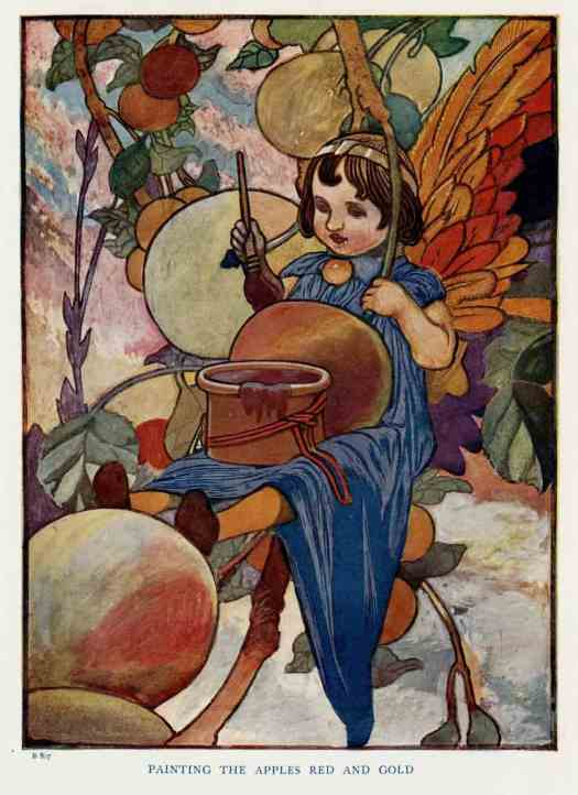 The Story of the Weathercock by Evelyn Sharpe 1907 illustrated by Charles Robinson Painting the apples red and gold