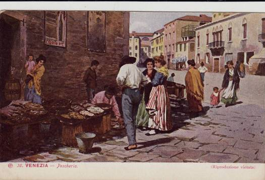 'A Fishmarket in Venice' Postcard illustrator unknown