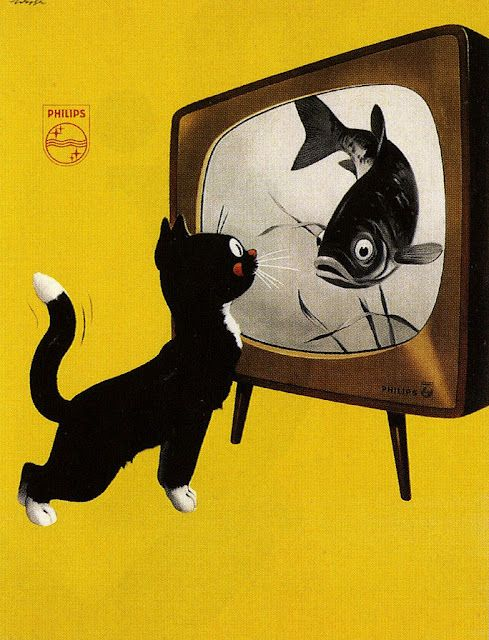 Dutch poster for Philips Tv, 1951 fish