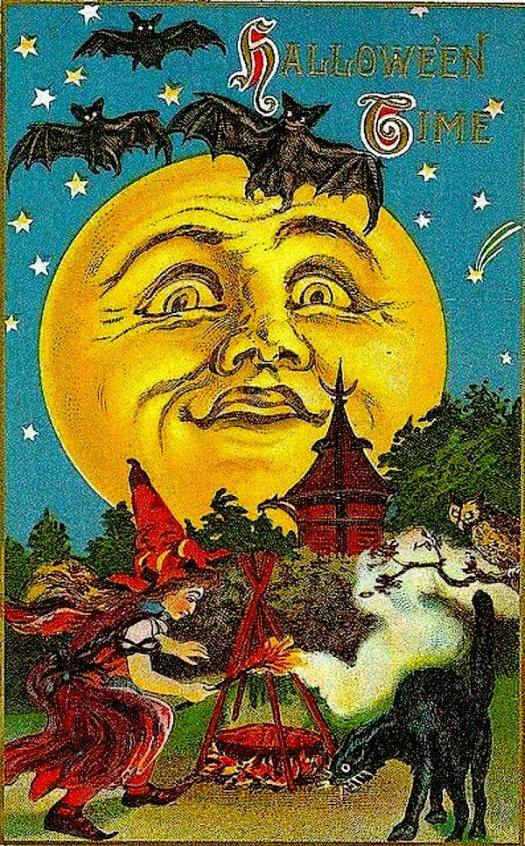 Vintage Halloween Moon Card with owl cat and witch using a fire broom