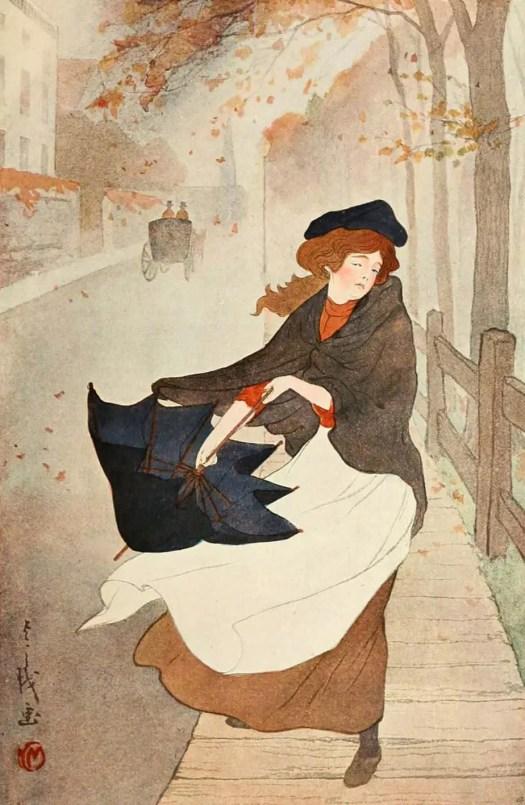 Yoshio Markino (Japanese,1874-1956) - Autumn, c.1904 umbrella