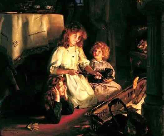 Fireside Delights (1913) by Arthur John Elsley, English painter of Victorian and Edwardian era