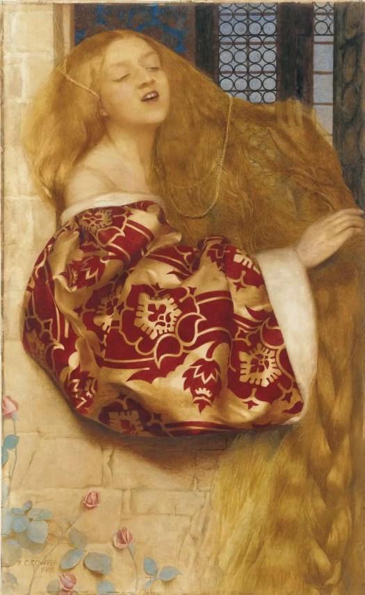 Frank Cadogan Cowper (British painter) 1877 - 1958 Rapunzel Sings From The Tower 1908