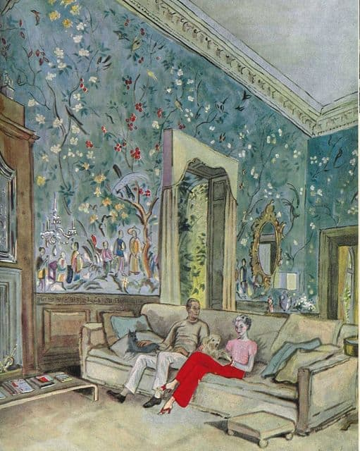 Mr. and Mrs. Harrison Williams at home, illustration for Vogue magazine, Cecil Beaton. February 1937