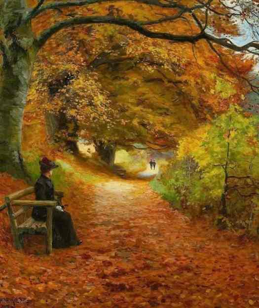 'Wooded Path in Autumn' by Hans Andersen Brendekilde (1857-1942)  Danish painter of Social Realism alone