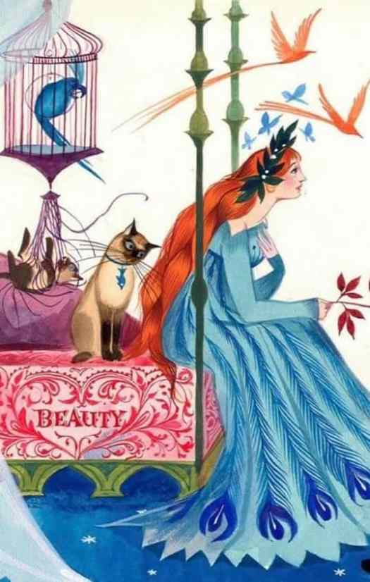 A detail from Gordon Laite's illustration of Beauty (Beauty and the Beast), The Blue Book of Fairy Tales (1959)