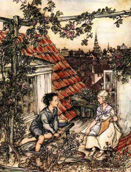 Arthur-Rackham-The-Snow-Queen-rooftop