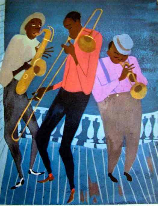 Blues musicians From The Fireside Book of Favorite American Songs, Illustrated by Aurelius Battaglia. 1952