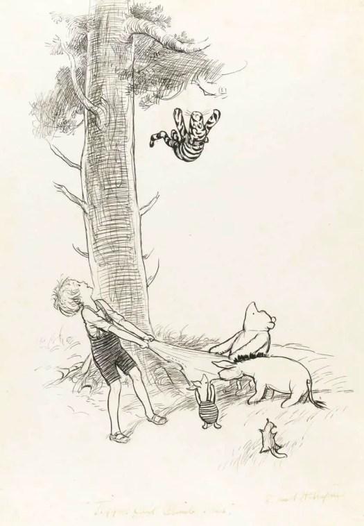 E.H. Shepard (British,1879-1976) Tiggers can't climb trees