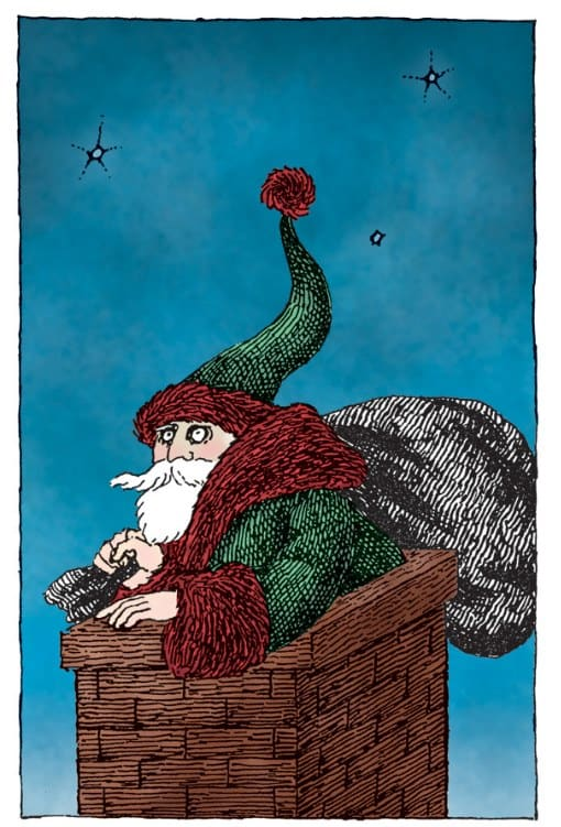 Edward Gorey created a series of Christmas cards for Albondocani Press beginning in the 1970s and ending in the '80s