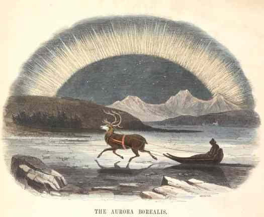 Edward Whymper (British mountaineer and illustrator, London, 1840 - Chamonix, 1911), Aurora Borealis, color woodcut, with watercolor