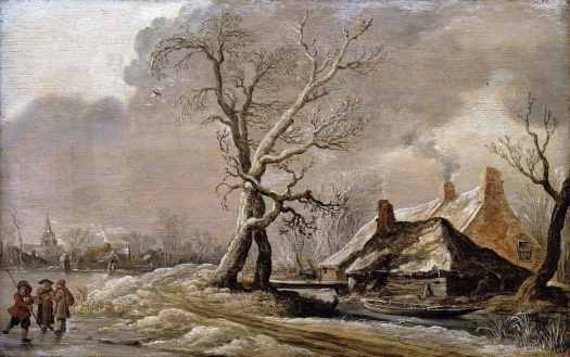 Jan van Goyen (1596 - 1656) Winter Landscape with Farmhouses along a Ditch, 1627