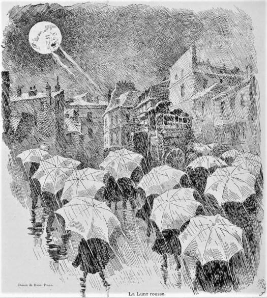 Le Courrier Français, illustration by Henri Pille, 1888, umbrella