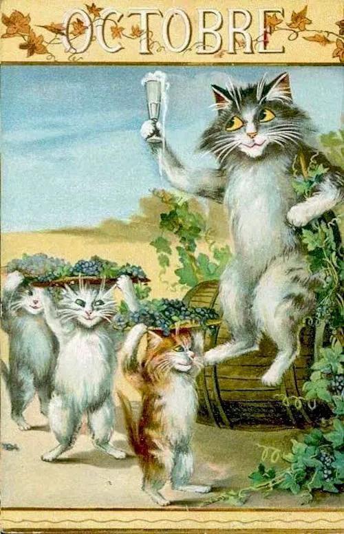 Maurice Boulanger October Vintage French postcard grapes cats