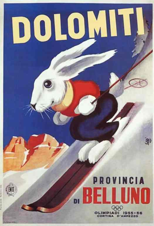 Poster by Sabi, 1955 rabbit skiing