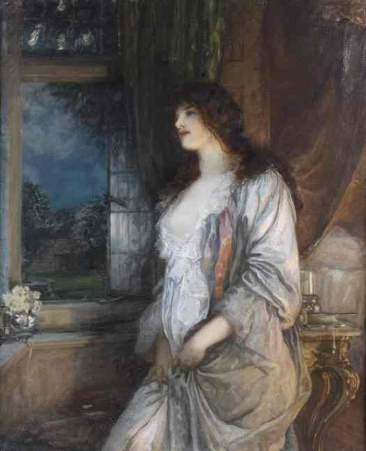 Robert Walker MacBeth, The Nightingale's Song (1904). A young woman dressed for bed looks longingly out of a window.