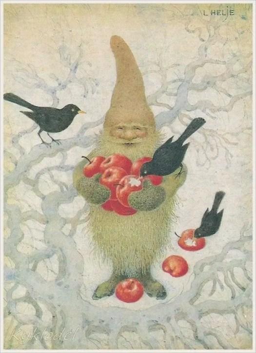 Swedish illustrator Lennert Helje (1940-2017) tomte with apple and blackbirds