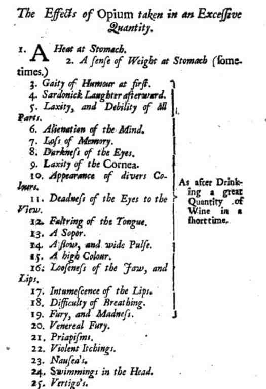 The Effects of Opium Taken in an Excessive Quantity from The Mysteries of Opium Reveal'd by Dr John Jones