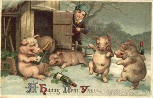 Vintage lithographic postcard from 1911 drunk pigs