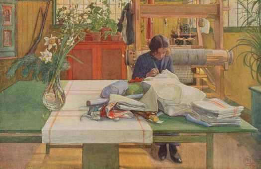 Woman Sewing, Carl Larsson, 1912