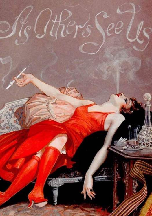 1920s smoking flapper, illustration by Maclin