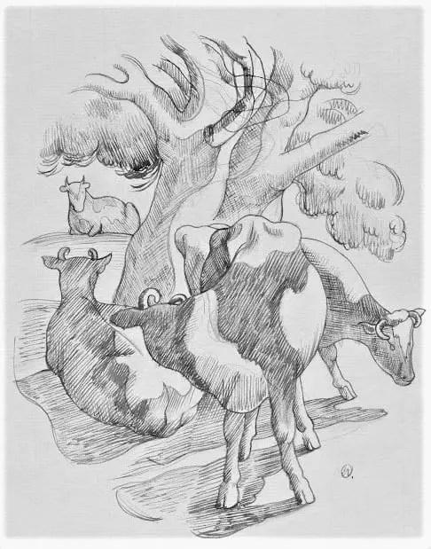 1938 Cows in the Shade John Nash