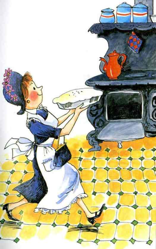 1963 illustration of Amelia Bedelia, the tentpole 'overly literal' character of picture books.