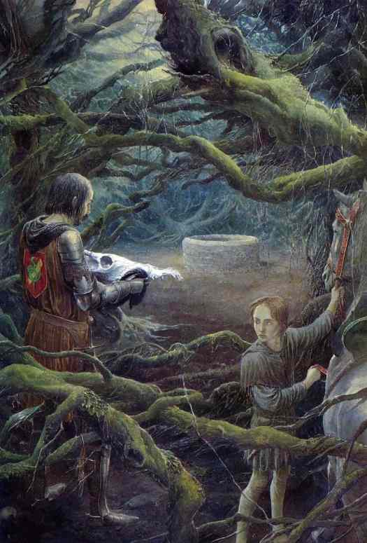 Alan Lee (born 1947) 1980 illustration for 'Merlin Dreams' by Peter Dickinson creepy trees