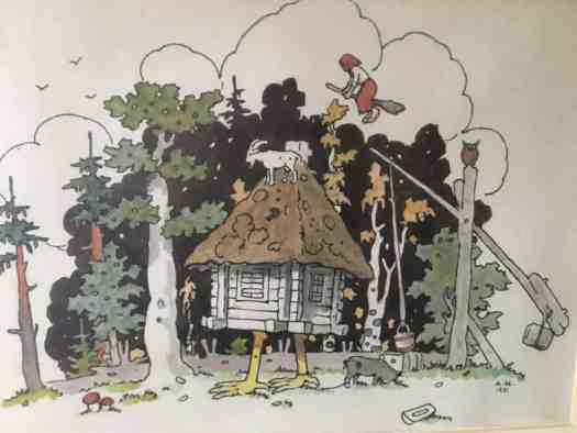Alberts Kronenbergs (18 Oct 1887-13 Sept 1958). Latvian writer and illustrator. This is from one of his rhymed books for children. Here, a young herd boy on his way home notices a little house on legs.