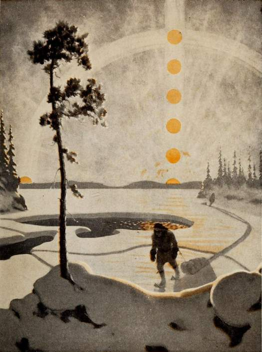 Arthur Heming (Canadian painter and novelist, 1870 – 1940 coloured plate from Postmen of the Wilderness, Drama of the Forests, 1921 sun