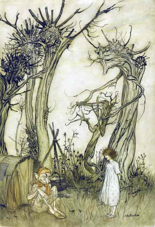 Arthur Rackham (British book illustrator) 1867 - 1939, The Man In The Wilderness, 1913, Mother Goose 1913 for the rhyme The man in the wilderness asked me How many strawberries grew in the sea
