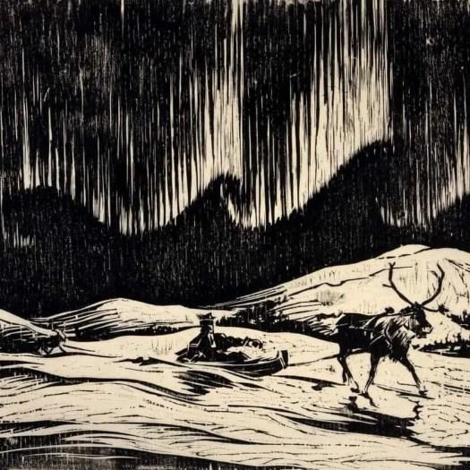 'Aurora Borealis' Woodcut print by Finnish artist Aukusti Tuhko. 1937