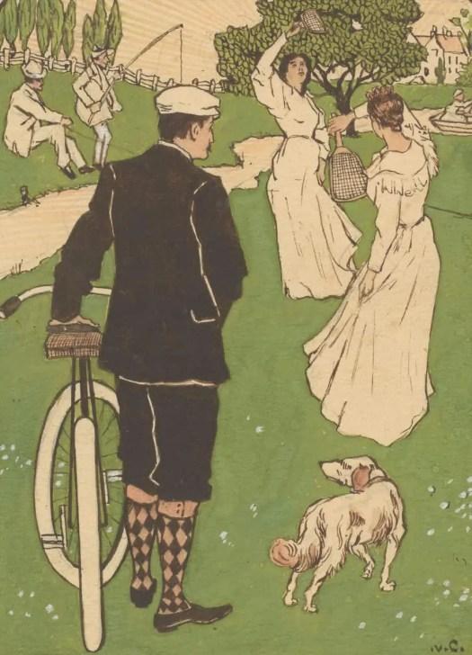 Bandontwerp met man met fiets en badmintonspelers, Johann Georg van Caspel, 1880 - 1928