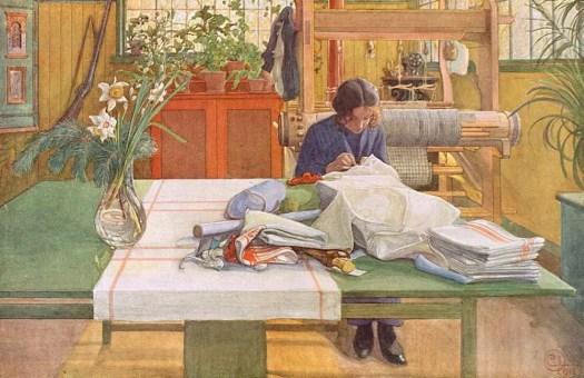 Carl Larsson- Loom and Thread
