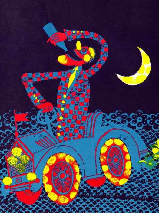 Carlos Marchiori Illustrations for Edith Fowke - Sally Go Round The Sun 300 Songs, Rhymes and Games of Canadian Children (1969) drinking driving