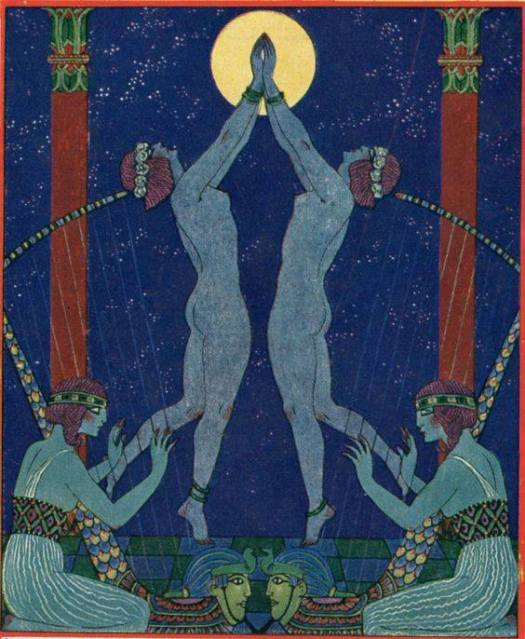 Danses de Jadis (dances in times past) George Barbier for the cover of a High Life Tailor catalogue 1921 symmetry