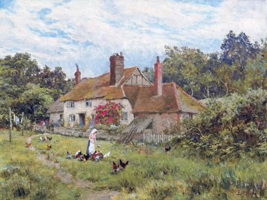 Edward Wilkins Waite - A Surrey Cottage in June
