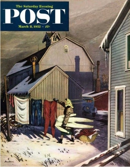 Frozen Laundry Saturday Evening Post Cover, March 8, 1952 Giclee Print by Stevan Dohanos